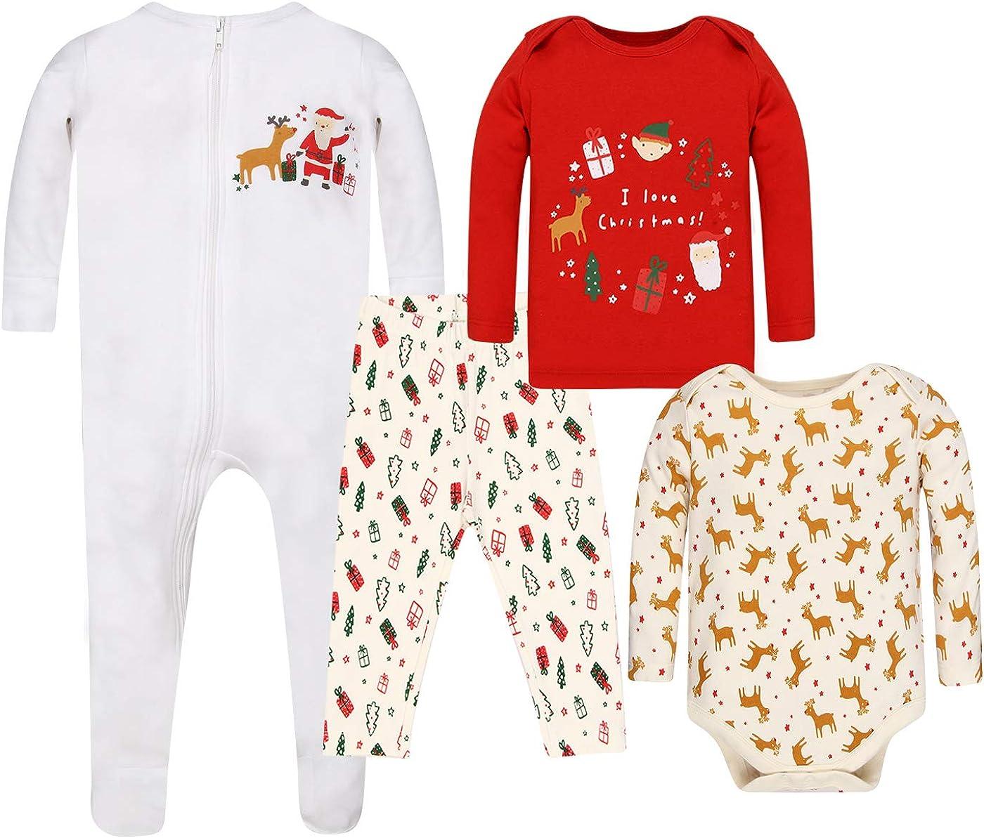 WINK & BLINk Christmas 100% Organic Cotton Baby Sleep N' Play, Bodysuit and Top+Bottom Pajama Sleeper Set