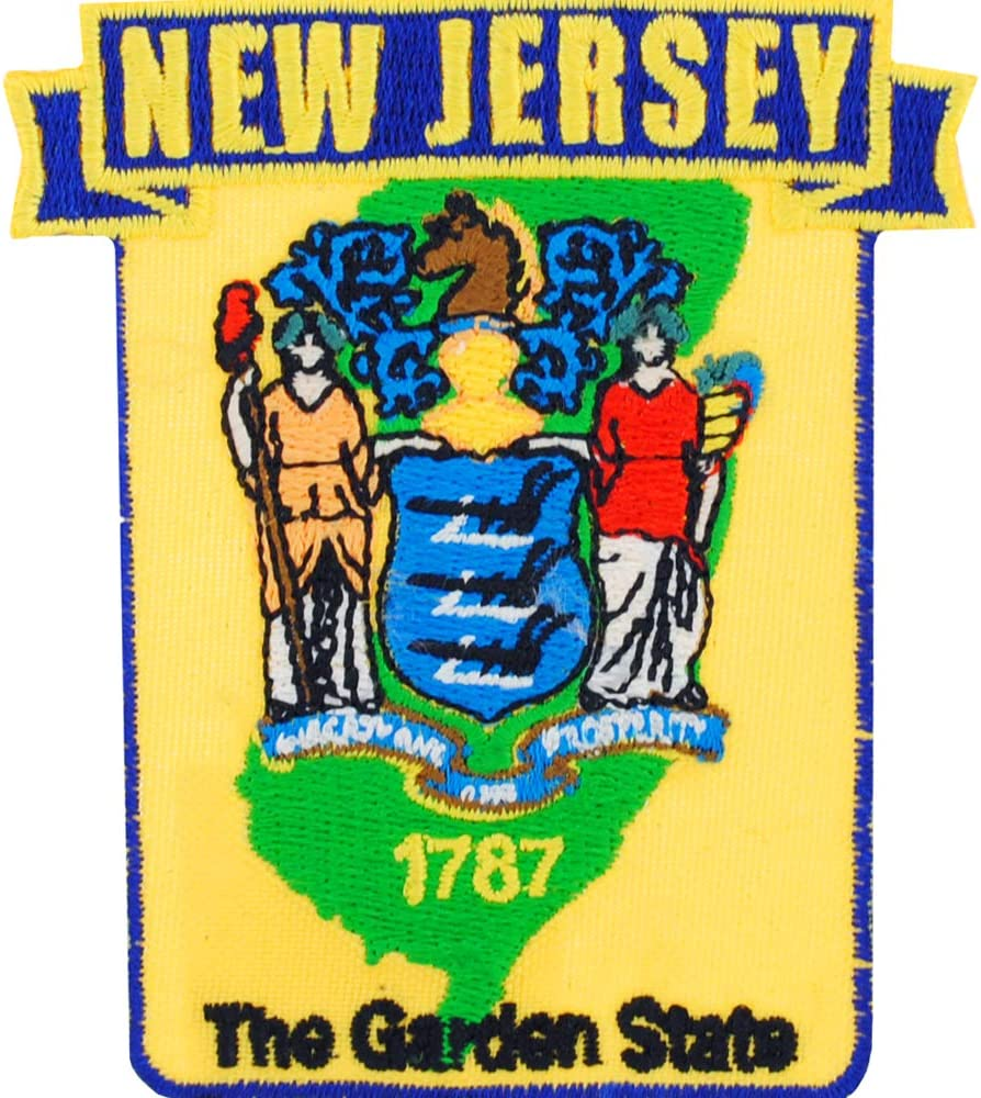 New Jersey State Shaped Map Embroidered Patch, with Iron-On Adhesive