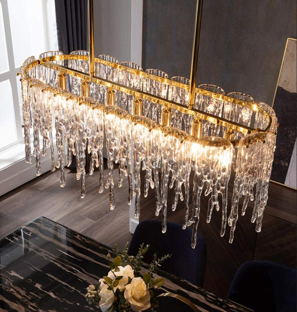 7 Light Luxurious Linear Crystal Chandelier Modern Brass Ceiling Light Fixture Contemporary Lighting For Restaurant Dining Room Kitchen Island L35 4 Amazon Com