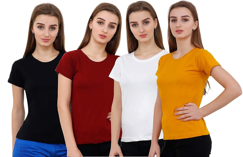 Combo Offer Pack of 4 Plain Half Sleeve T-Shirt for Women's – Best ...