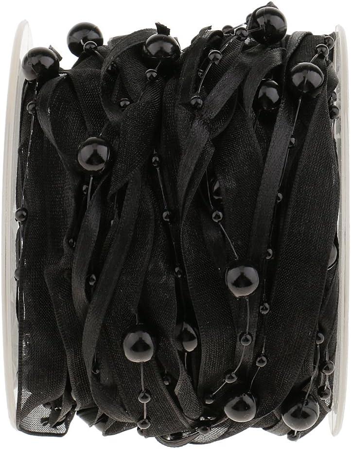 Sharplace 10meter Organzaband Perlenband Perlengirlande Perlenkette Burgund one Size