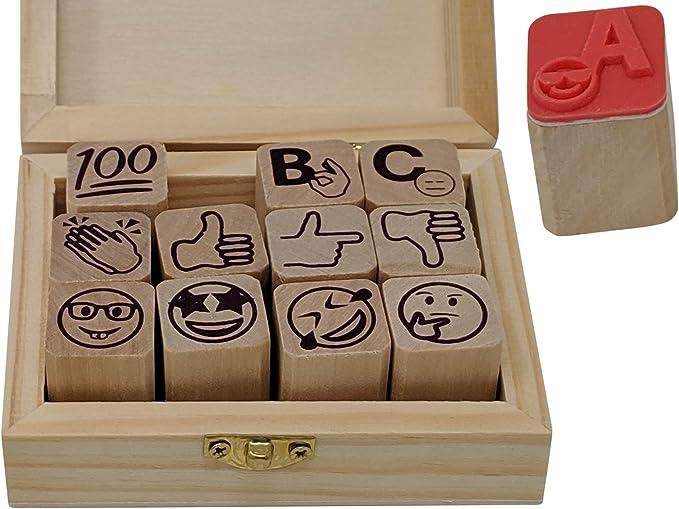 Greatangle 6 Estilos//Set Kawaii Cute Teachers Stampers Inking Praise Reward Stamps Motivaci/ón Sticker School Supplies 6 Colores