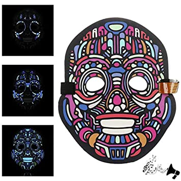 lavany halloween led masks light upadjustable sound reactive led mask sound activated for festival
