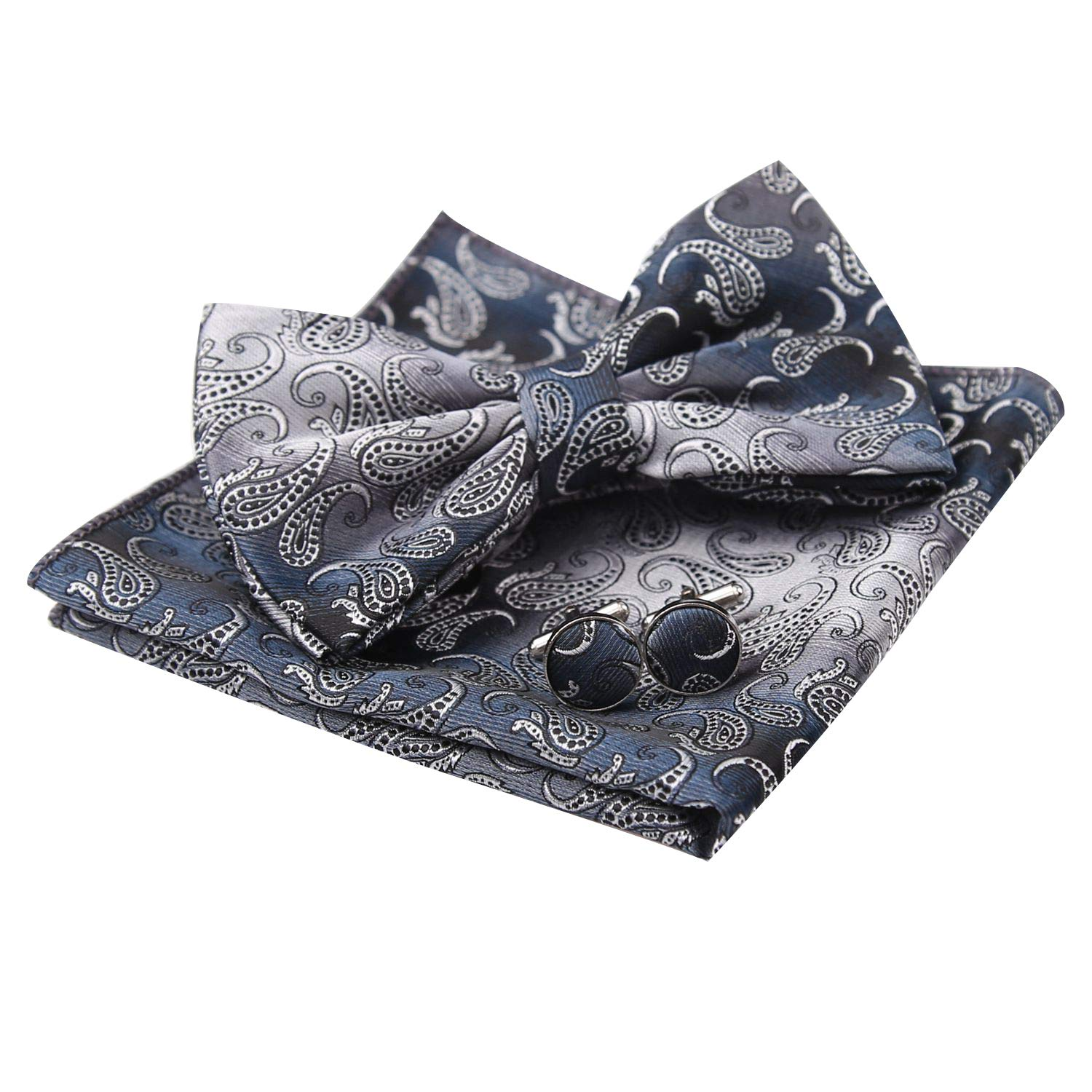 Alizeal Mens Gradient Mini Paisley Pre-tied Bow Tie, Hanky and Cufflinks Set, Gray AM015-Gray