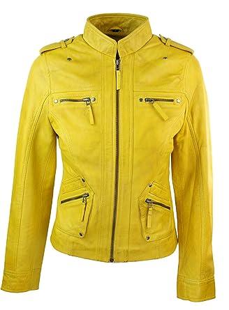 Veste jaune cintree femme