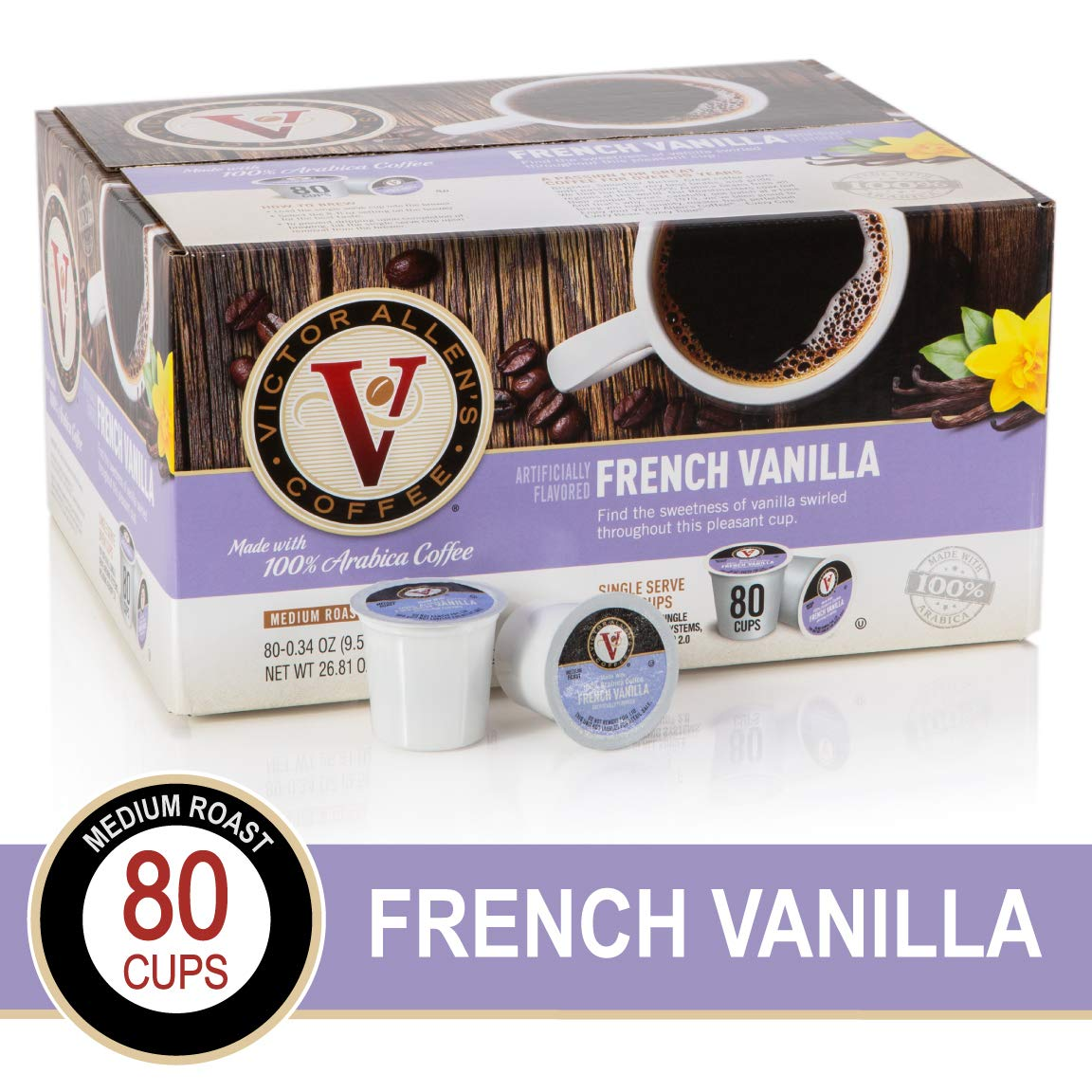 French Vanilla for K-Cup Keurig 2.0 Brewers, 80 Count, Victor Allen's Coffee Medium Roast Single Serve Coffee Pods by Victor Allen