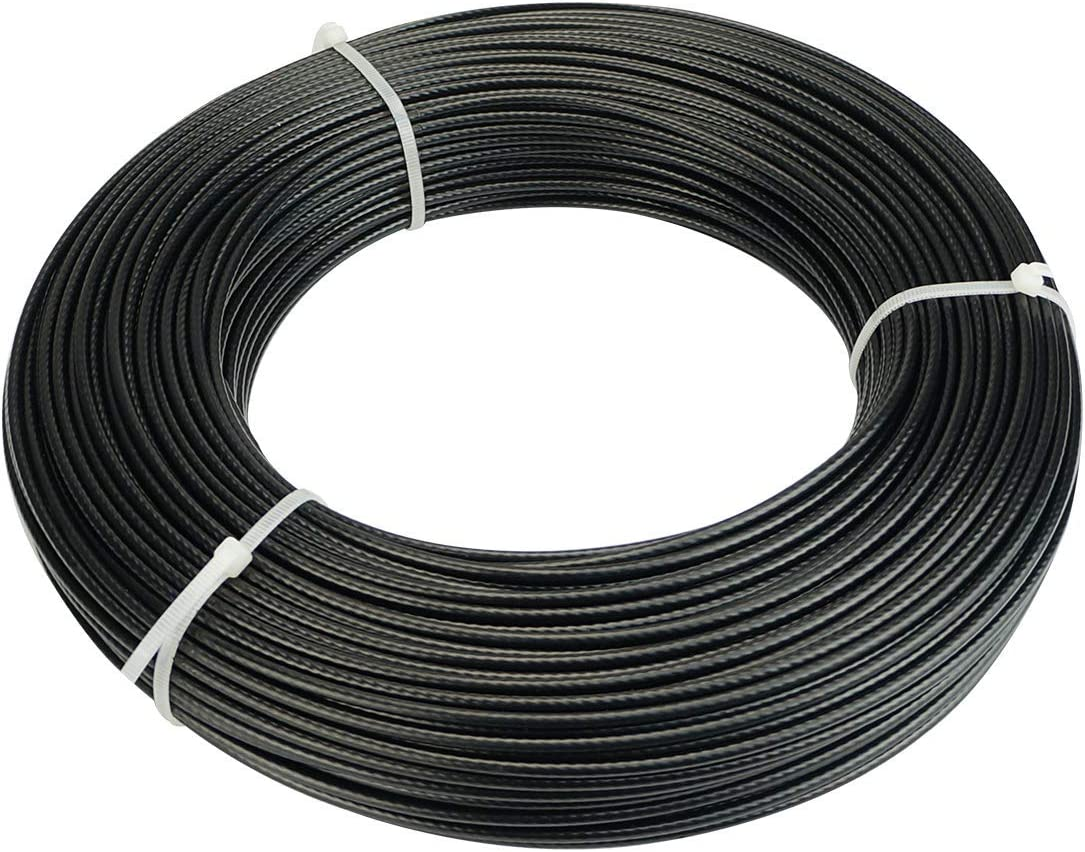 IQQI 0.8//1mm Black Stainless Steel Cable,Outdoor Light Guide Wire Plastic Coated Rope 7X7 Strand Core Length 100M