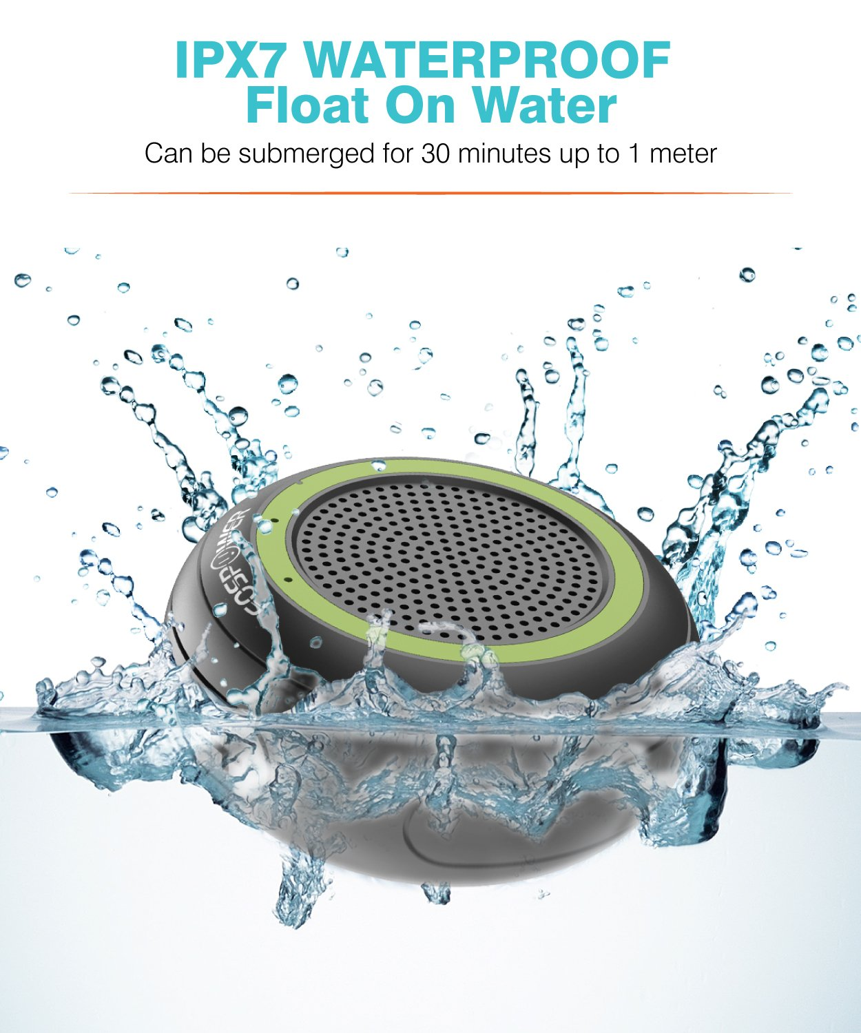 HD Audio Supports TF//SD Card and TWS Mode Enhanced Bass FosPower IPX7 Waterproof Bluetooth Speaker Portable 4.2 Wireless Speakers with Built-in Mic and 10 Hours Playtime