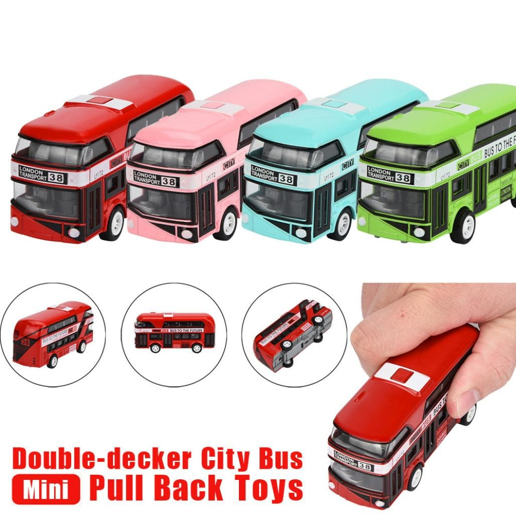 UPXIANG Pull Back and Go London Bus Fun Toy Collection Model Double-decker Bus Alloy Die Cast City Bus for Kids (Colour At Random)