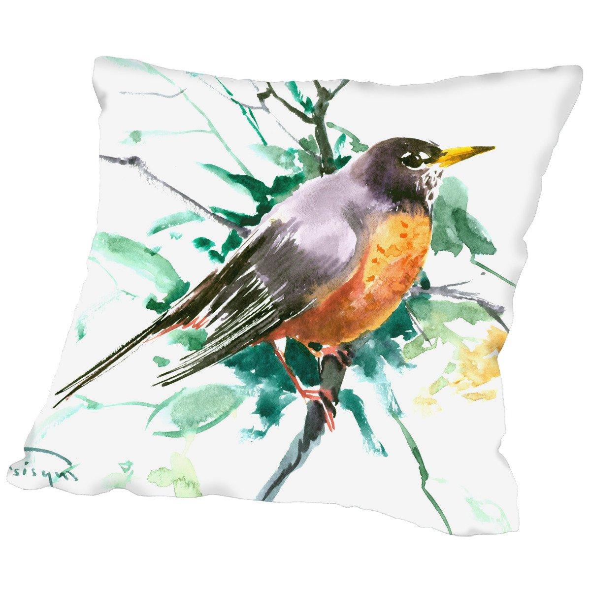 American Flat A108P619PILL2020 American Robin pillow by Suren Nersisyan, 20 x 20
