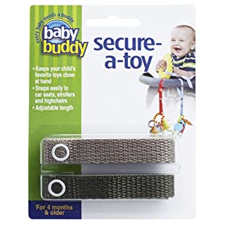 Baby Buddy Secure-A-Toy, Safety Strap Secures Toys, Teether, or Pacifiers to Strollers, Highchairs, Car Seats—Adjustable Length to Keep Toys Sanitary CleanTan-Olive 2 Count