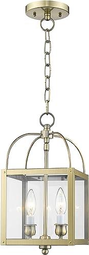Livex Lighting 4041-01 Milford 2-Light Convertible Hanging Lantern Ceiling Mount, Antique Brass