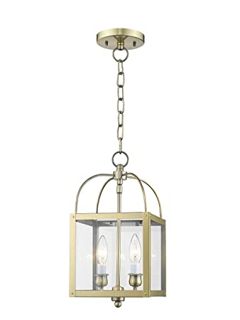 Livex Lighting 4041-01 Milford 2-Light Convertible Hanging Lantern Ceiling Mount, Antique Brass