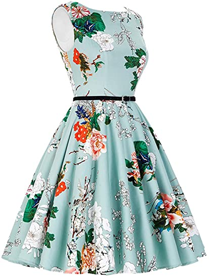 ANCHOVY Womens Vintage Dress Sleeveless Floral Print Tea Dress with Belt C72 at Amazon Womens Clothing store: