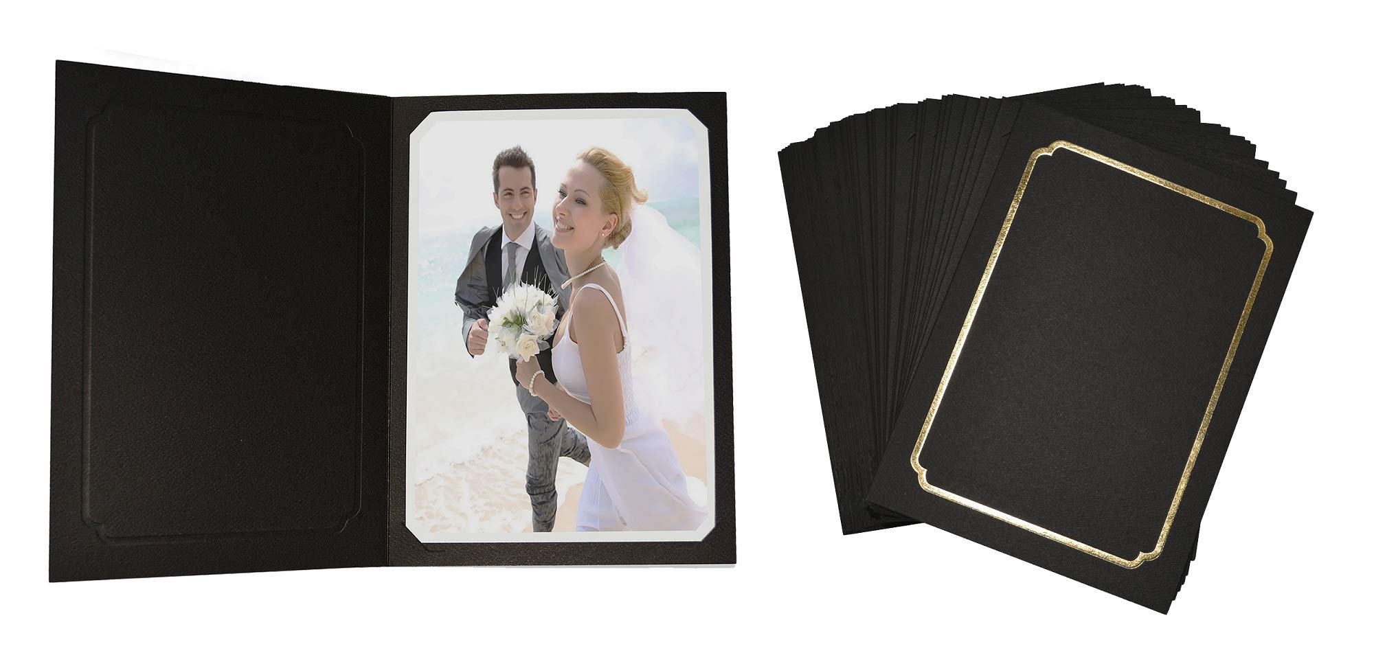 Golden State Art, Acid-Fre Photo Folders for 5X7 or 4x6 Photo,Pack of 100 Black with Gold Lining Cardboard/Paper Frames,Great for Portraits and Photos,Special Events: Graduation,Wedding by Golden State Art