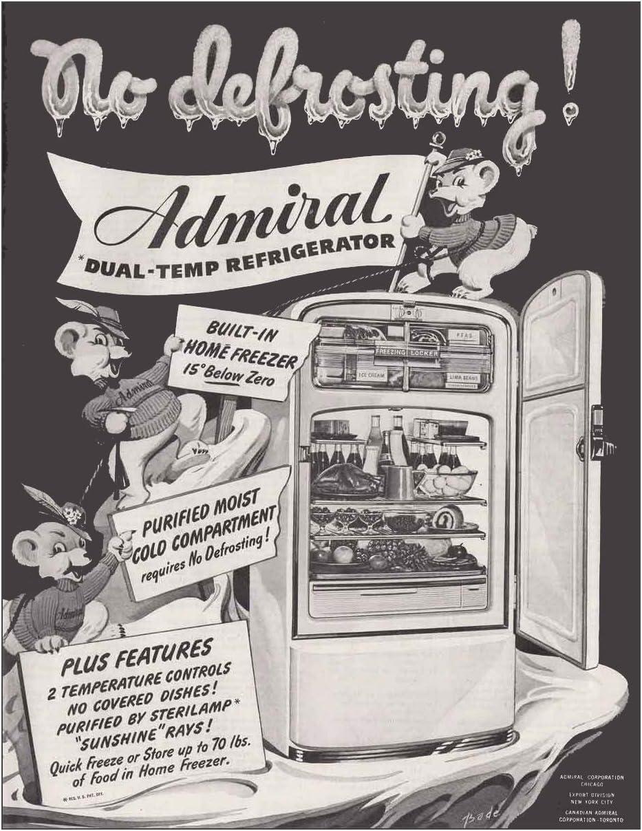 1947 Admiral Dual-Temp Refrigerator: No Defrosting, Admiral Print Ad