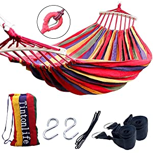 Tintonlife Brazilian Double hammock two person Extra Large Canvas Cotton hammock with stand for Patio Porch Garden Backyard Lounging Outdoor and Indoor Rainbow Stripe 2 person hammock