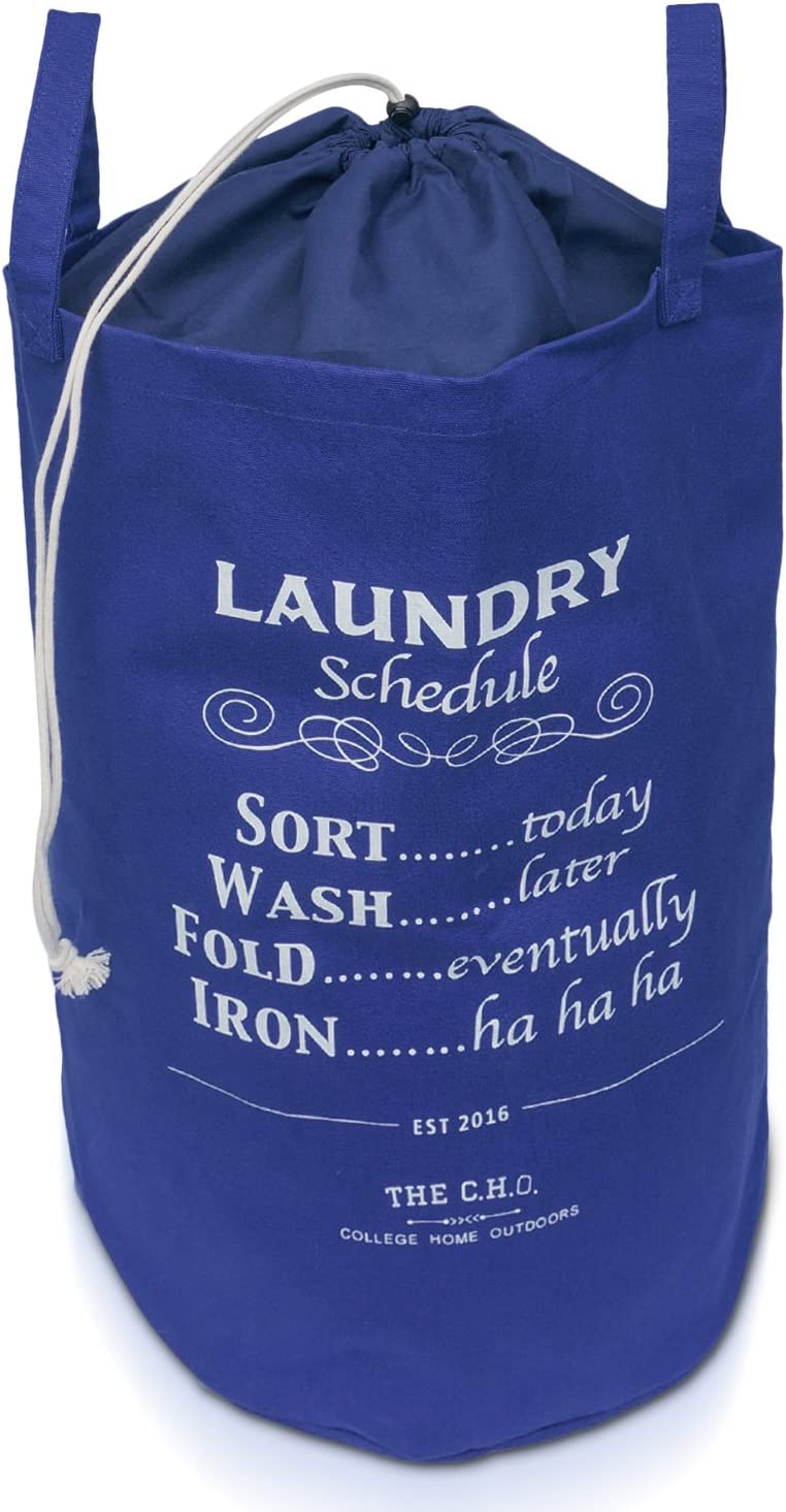 The C.H.O. Hilarious Laundry Hamper | Navy Blue Laundry Schedule | 55 Liters of Heavy Duty Cotton Canvas | 21 Inches Tall x 14 Inches Wide | Collapsible | Drawstring Enclosure for Extra Space