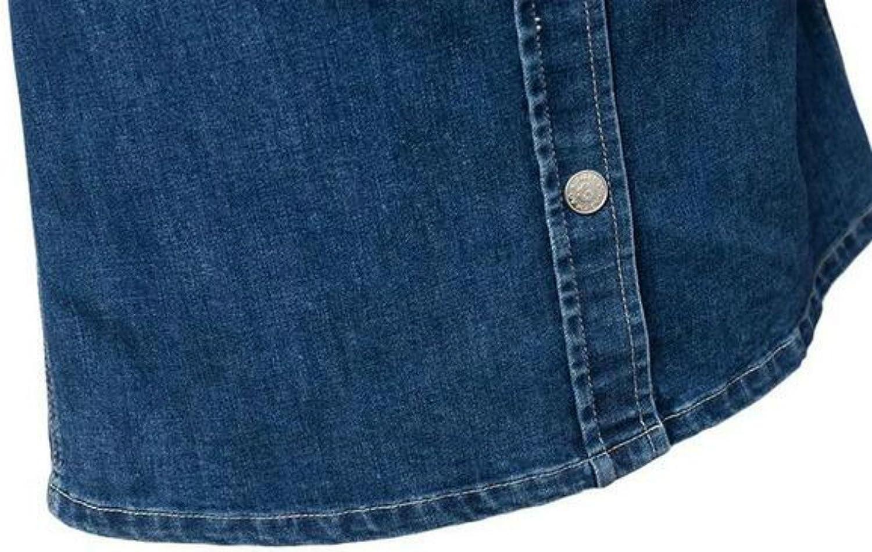 Colygamala Womens Long Sleeve Slim Denim Mini Dress Button Down Shirt Dress
