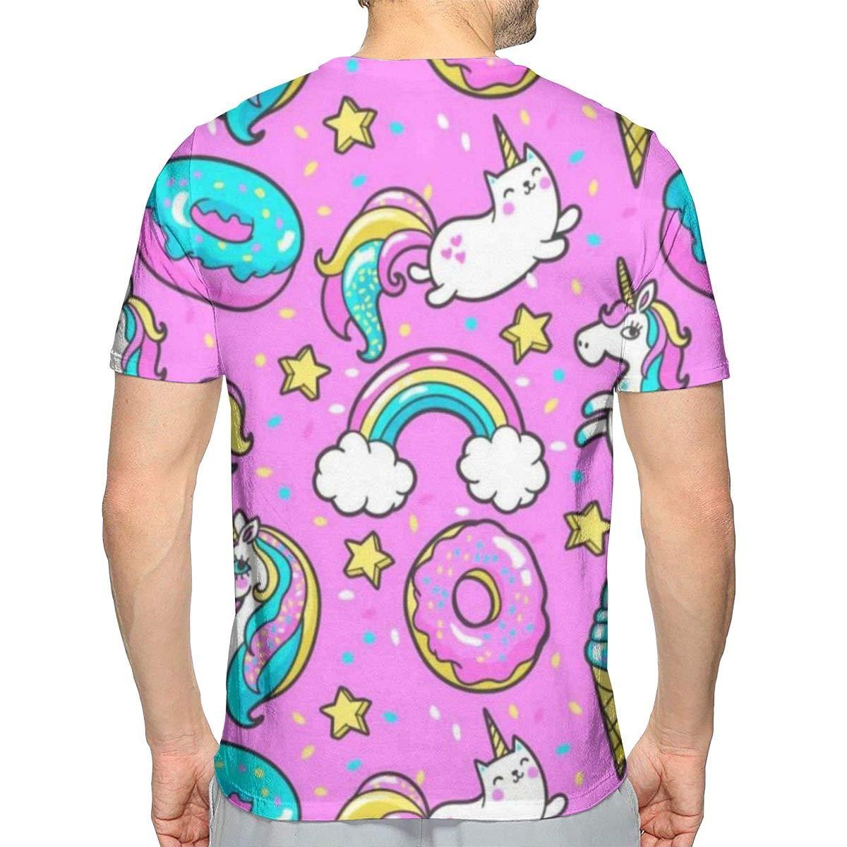 Cute Unicorn Kawaii Mens T-Shirt Tops Sports Short Sleeve