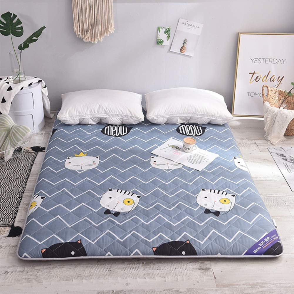 MM-CDZ Thick Sleeping Tatami Floor Mattress Mat,Sanding Print Quilted Fitted Bed Topper Mattress Pad,Folding Not-Slip Japanese Floor Futon Mattress Upholstered for Home Dormitory-d Twin