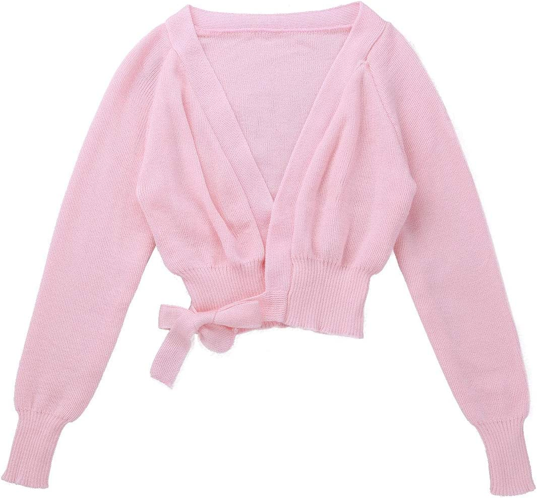 Agoky Kids Girls Long Sleeves Tie Closure Knit Sweater Cardigan Ballet Dance Warm Up Wrap Top