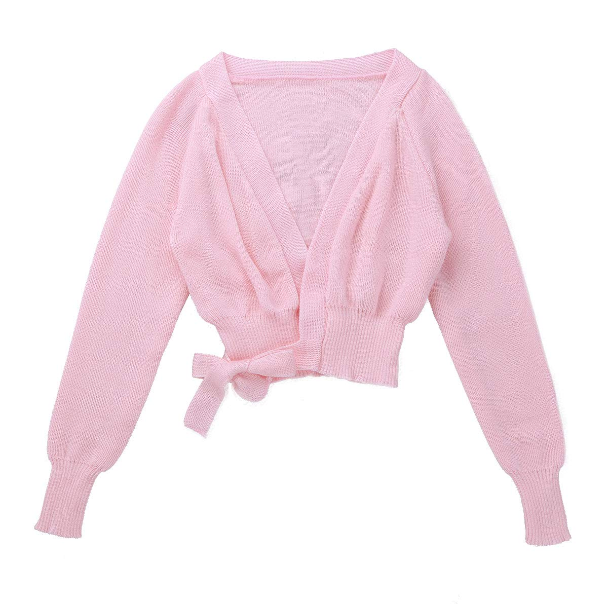 dPois Kids Girls Long Sleeves Knitted Sweater Shrug Cardigan Gymnastics Ballet Dance Dress Cover Up