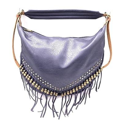 2d83a21d32 Angkorly - Sac à main Cabas porté épaule besace Fourre-tout frange perle  clouté vintage/rétro bohème souple pour tous les jours femme tendance chic  élégant ...