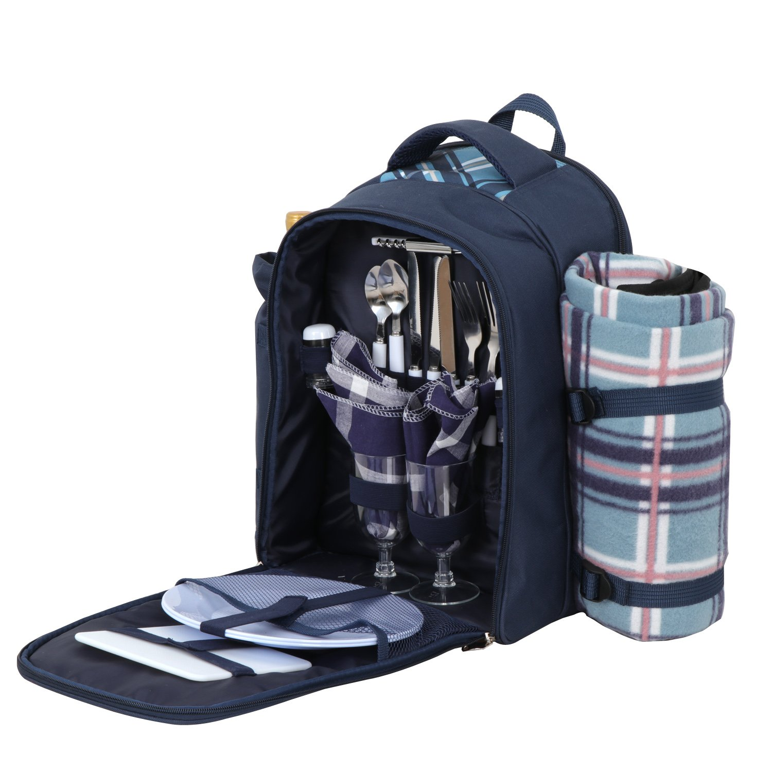 ZENYPocnic Backpack for 2 Persons w/Full Set Tablewares,Detachable Bottle Wine Holder,Fleece Blanket for Outdoor Camping Family Picnic