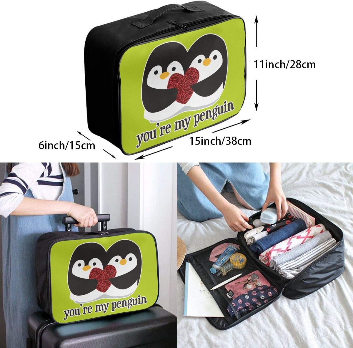 You Are My Penguin Carry Lightweight Large Capacity Portable Outdoor Luggage Trolley Bag