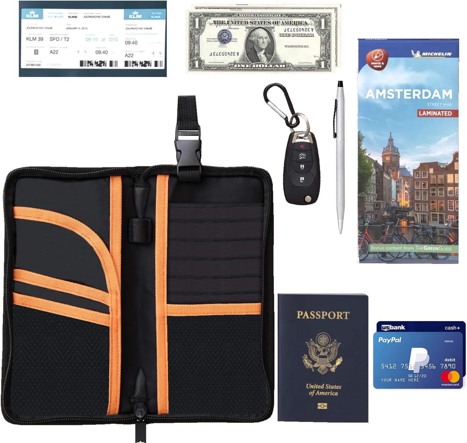 Urbo Premium and Durable Travel Passport Wallet for travel Documents ID Cards and Important Papers Currency Flight Tickets Driving Licence Credit Cards Integrated Key Hook /& Pen Holder