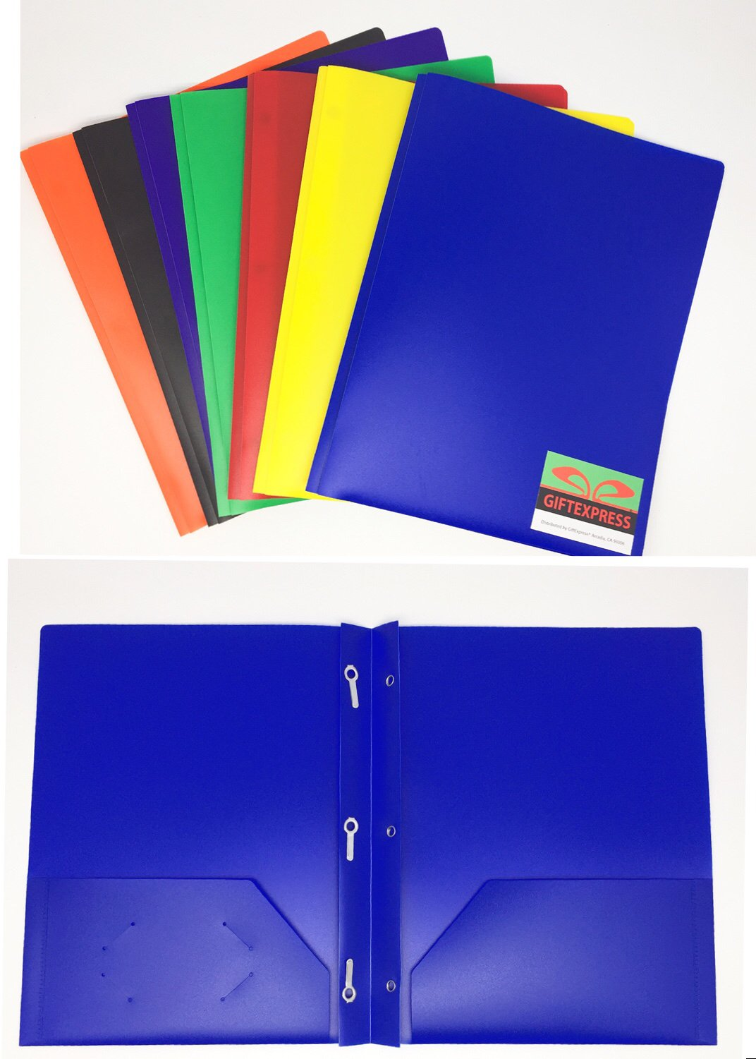 GIFTEXPRESS Pack of 6, Assorted Solid Color 3-prong Poly Portfolio with 2 Pockets, Two Pocket Poly File Folder, 3 hold plastic folder-Strong and Durable Plastic