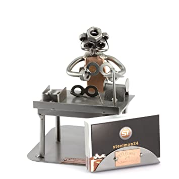 Steelman24 I Figurine En Metal Opticien Avec Porte Cartes De Visite Made In Germany