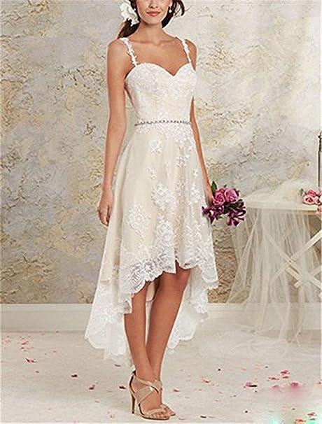 Vweil Rustic High Low Vestido De Novia Lace Wedding Dresses with Detachable Skirt VD23 at Amazon Womens Clothing store:
