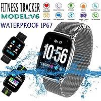 V6Fitness tracker montre bracelet, suivi d'activité avec moniteur de fréquence cardiaque étanche IP67montre de fitness, moniteur de sommeil étape Compteur podomètre montre pour adulte enfants femmes Hommes appel SMS SnS Push pour Android et iOS téléphone