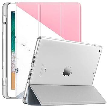 Dailylux Funda Nuevo iPad 9.7 2017/2018 Carcasa Soporte Incorporado de Apple Pencil SlimShell Carcasa Ligera Trasera Protectora Transparente ...