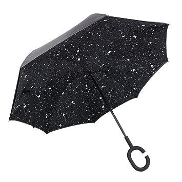 CONMING Parasol invertido a prueba de viento de protección UV Parasol de doble capa de paraguas