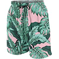 FeHuew Pink Palm Leaves Teens Swim Trunks Stretch Quick Dry Swimwear Surf Board Shorts Summer Beach