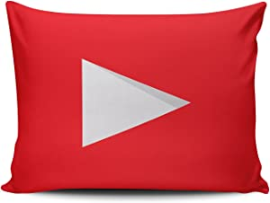 KEIBIKE Personalized Social Media Logo Youtube Rectangle Decorative Boudoir Pillowcases Red Design Zippered Throw Pillow Covers Cases 12x16 Inches One Sided