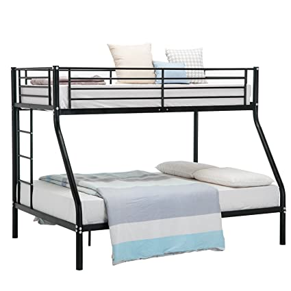 Amazon Com Mecor Metal Bunk Beds Frame Twin Over Full Black With