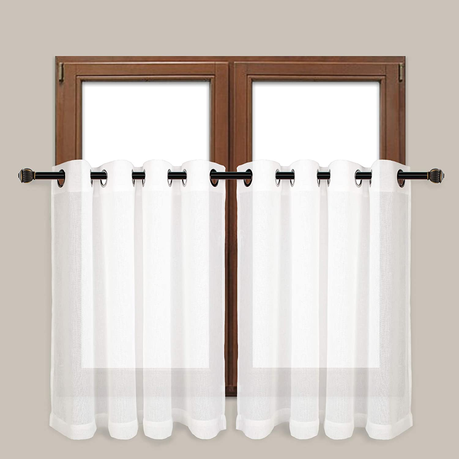 VOILYBIRD Vitoria Sheer Curtains Window Tiers - 54-inch by 36-inch Grommet Top for Kitchen Window/Bathroom, White, 2 Panels