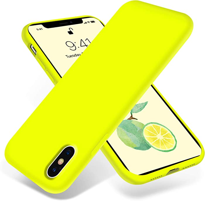 OTOFLY Liquid Silicone Gel Rubber Full Body Protection Shockproof Case for iPhone Xs/iPhone X,Anti-Scratch&Fingerprint Basic-Cases,Compatible with iPhone X/iPhone Xs, (Fluorescent Yellow)