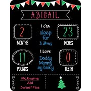 Baby Monthly Milestone Chalkboard - 14  x 18  - Special Surface Made for Chalk Markers and Regular Chalk - Erases with Water - Reusable - Photo Prop - 100% Made in USA