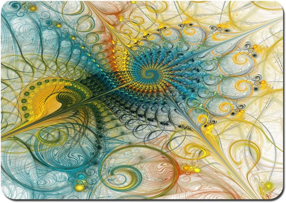 Alfombras Absorbente Antideslizante Composición Espiral Colorido Abstracto Verde Azulado Amarillo Ultra Suave Alfombrilla De Baño Corredor-80x60cm