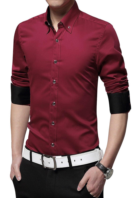 XTAPAN Mens Long Sleeve Casual Slim Fit Business Button Down Dress Shirt