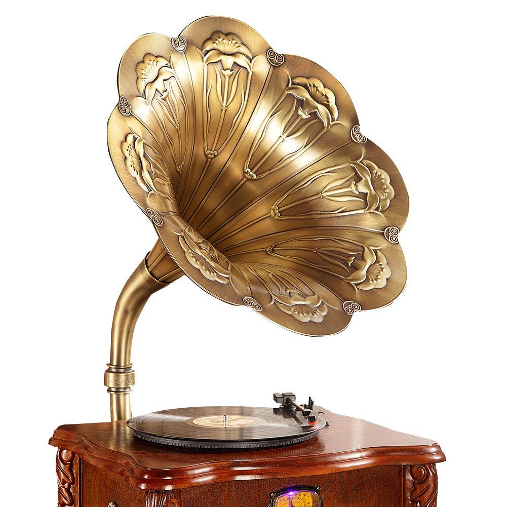 Sitang AContinental retro gran bocina de gramófono antiguo jugador de disco de vinilo de la vendimia tocadiscos MLG668A