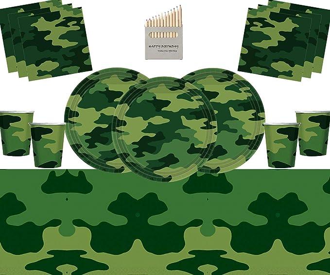 Vajilla de Fiesta de Camuflaje del ejército Decoraciones de Fiesta de cumpleaños Militar Cubierta de Mesa de servilleta de Taza de Plato de Camuflaje ...