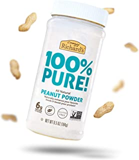 product image for 100% Pure All-Natural Peanut Powder, Powdered Peanut Butter No Sugar Added, Bulk Peanut Butter Powder Pack of 3 x 6.5oz Resealable Jar – Crazy Richard's