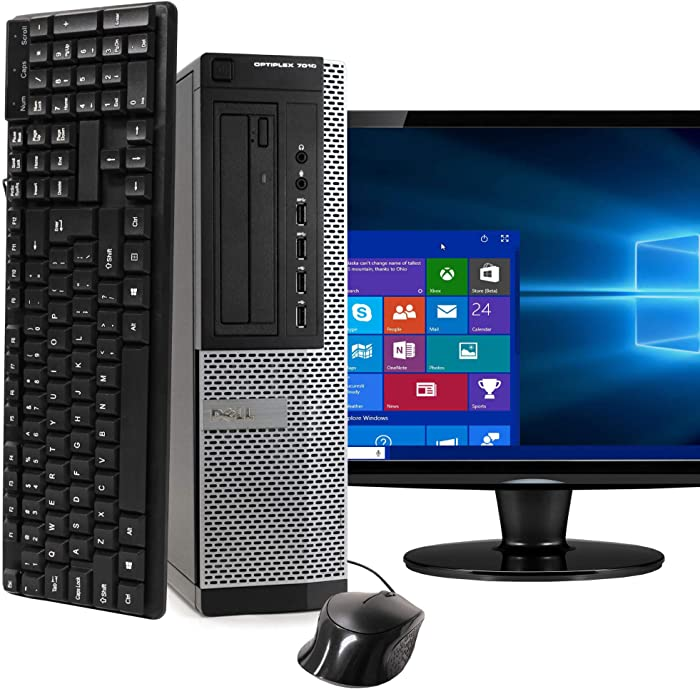 Desktop Computer Package Compatible With Dell Optiplex 7010 Intel Quad Core i5 3.2-GHz, 8GB RAM, 500GB, 17 Inch LCD, Keyboard, Mouse, DVD, WiFi, Windows 10 Professional (Renewed)
