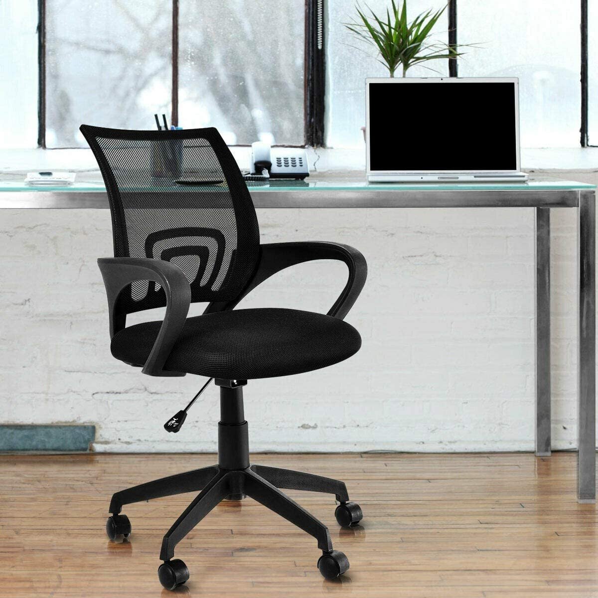 Amazon Com Kovalenthor Ergonomic Office Chair Ergonomic Computer Chair Computer Desk Task Chair With Armrests Black Kitchen Dining